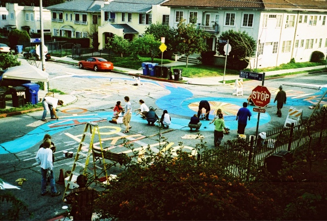 Eco-Village intersection repair painting from a few years ago - the street was later repaved
