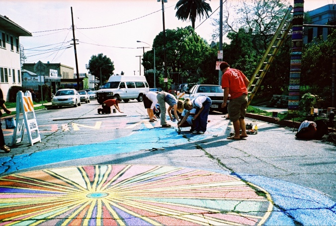 Another shot of past eco-village intersection repair in process