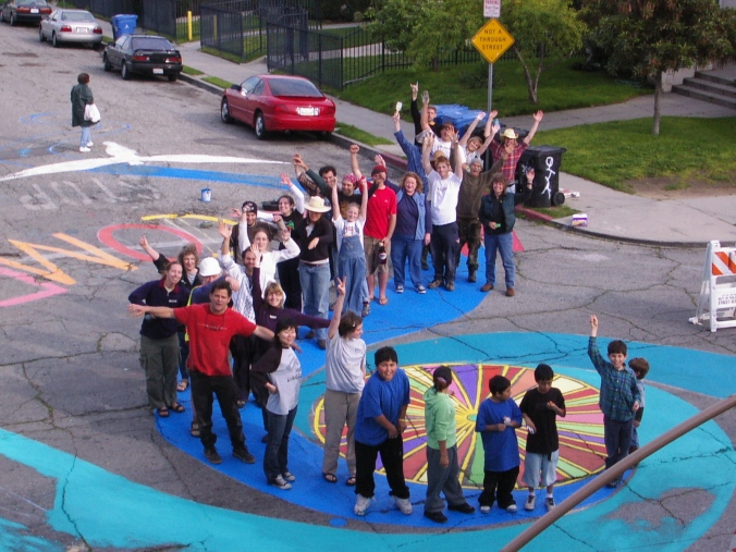 End of the day celebration of the completed mural!