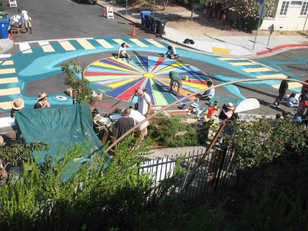 A view of the mostly-complete southern half of the intersection mural - photo by Yuki
