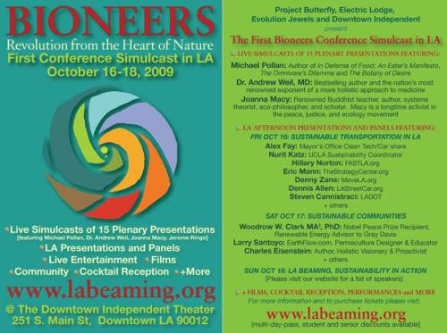 Flyer for Oct 16-18 Bioneers Conference in Los Angeles www.labeaming.org