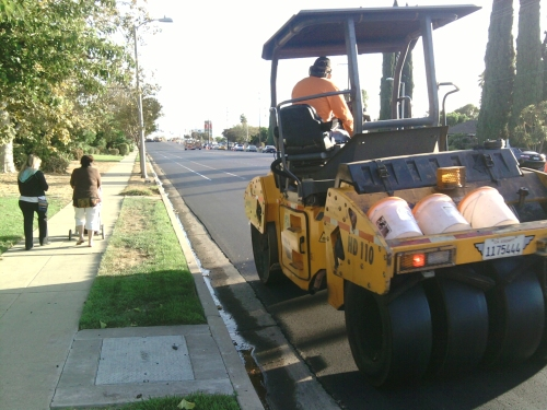 City Steamroller Truck Making the New Bike Lanes Nice and Flat