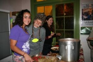 Eco-Villagers Mayi Mauricio (left),  George Patton, Lara Morrison