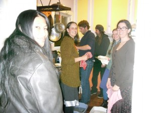 Midnight dishwashing party with LAEV Intentional Community members.