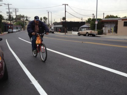 The new Virgil Avenue bike lanes connect to these recent bike lanes on Santa Monica Boulevard in East Hollywood