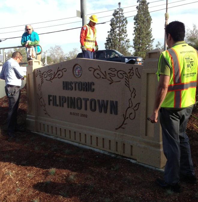 New gateway marker for Historic Filipinotown. Note that the sign includes motifs from the adjacent historic bridge