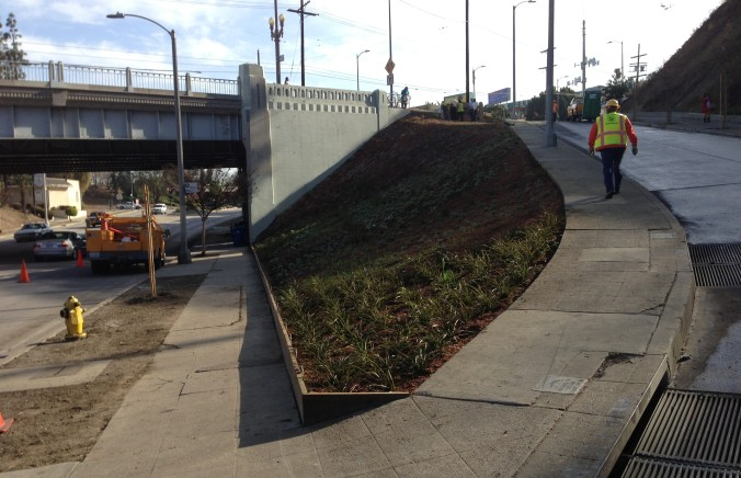 This new landscaped triangle is the Filipinotown Western Gateway. Temple Street Bridge over Silver Lake Blvd is on the left