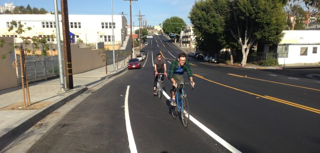 New bike lanes on First Street, immediately adjacent to Los Angeles Eco-Village