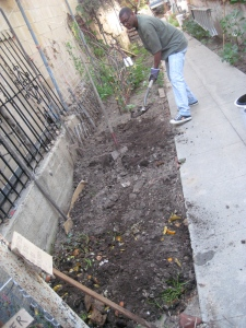 Jonas finishes this compost pit with a  layer of soil.